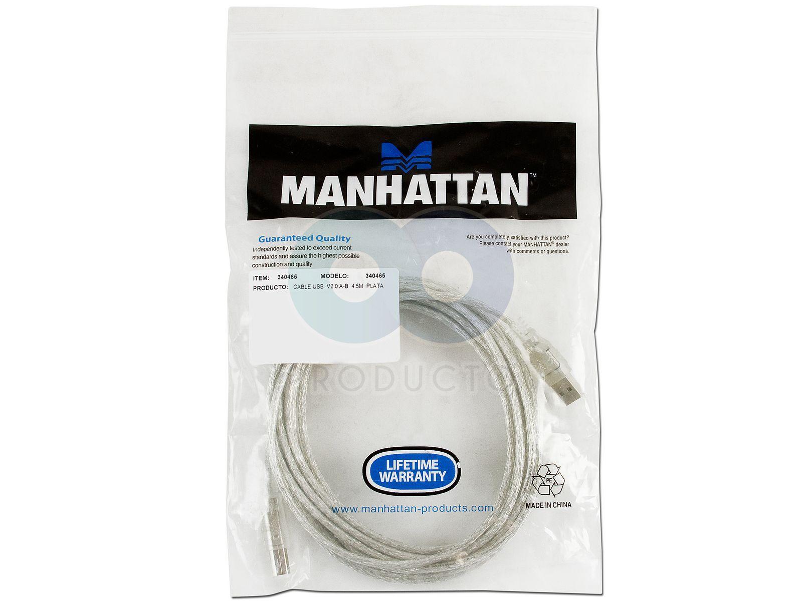 Cable Manhattan Usb 2 0 A Macho B Macho De 4 5 Mts Para