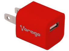 Cargador de pared Vorago AU-105 B con 1 puerto USB. Color Rojo.