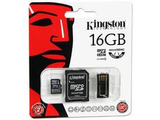 Memoria Kingston microSDHC de 16 GB Clase 4, incluye adaptador SD y lector de tarjetas microSD USB 2.0