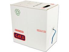 Bobina de Cable Cat5e (UTP) Caja con 305 m, azul, 24 AWG, Sólido