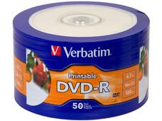 Paquete de 50 DVD-R Imprimible Verbatim 16x, 4.7GB,  Superficie Blanca.