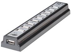 Hub USB Manhattan de 10 Puertos (Convierte 1 puerto USB en 10) con Adaptador CA.