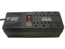 Regulador VICA T-02 1200VA/700W de 8 contactos y protección para linea telefónica.