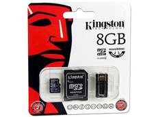 Memoria Kingston microSDHC de 8GB Clase 4, incluye adaptador SD y lector de tarjetas microSD USB 2.0