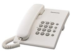 Teléfono Alámbrico Panasonic KX-TS500, Básico, una Linea, sin Memorias, Color Blanco.