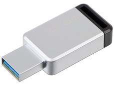 Unidad Flash USB 3.1 Kingston DataTraveler 50 con Elegante y Moderno Diseño de 128GB color Plata.