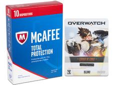McAfee Antivirus Total Protection 2017, 10 Dispositivos, 1 Año. Incluye código de canje para Videojuego Overwatch en PC.