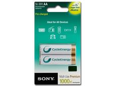 Paquete de 2 pilas SONY recargables AA de 2,000 mAh.