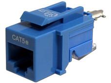 Conector Keystone Cat5e RJ45 Azul, modular sin herramientas.