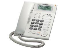 Teléfono Alámbrico Panasonic KX-T7716X con Identificador de Llamadas, una Linea, 50 Memorias, Color Blanco.