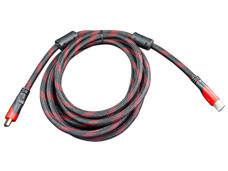 Cable de Video HDMI (M-M), Reforzado, 3m. Rojo/Negro.