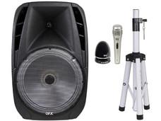 Bocina QFX Quantum PBX-61159BTL de 4,600 Watts PMPO, Batería recargable, USB, Bluetooth. Incluye pedestal, micrófono y bocina bluetooth