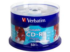 Paquete de 50 CD-R Verbatim Imprimibles, 700 MB, 80Min, 52x, Superficie Plateada para Calidad Fotográfica.
