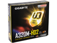 T. Madre Gigabyte GA-A320M-HD2, Chipset AMD A320, Soporta: Procesador AMD 7th Generación A-series / Athlon, Socket AM4, Memoria: DDR4 3200(O.C.)/2400/2133 MHz, 64GB Max, Integrado: Audio HD, Red, USB 3.0, SATA 3.0, Micro-ATX, Ptos: 1xPCIE 3.0 x16.
