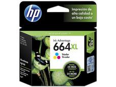 Cartucho de Tinta HP 664XL Tricolor, Modelo: F6V30AL.