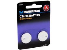 Manhattan Paquete de dos baterías 3V CMOS CR 2032. Ideal para tarjetas madre, computadoras, controles remoto y relojes.