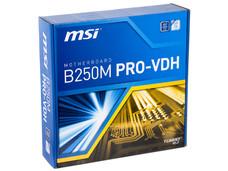T. Madre MSI PRO-VDH B250M, Chipset Intel B250, Soporta: Core i7 / i5 / i3 / Pentium / Celeron de 7ma Gen., Socket 1151, Memoria: DDR4 2133 / 2400 MHz, 64GB Max, Integrado: Audio HD, Red, USB 3.0, SATA 3.0, M-ATX, Ptos: 1xPCIE 3.0x16